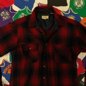 L L Bean Red Vintage Maine Flannel Button Up Shirt